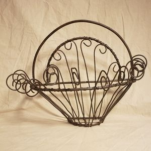 Antique Sculpted Victorian Wire Wall Planter